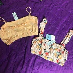 2 NWT size small Pacsun crop tank tops